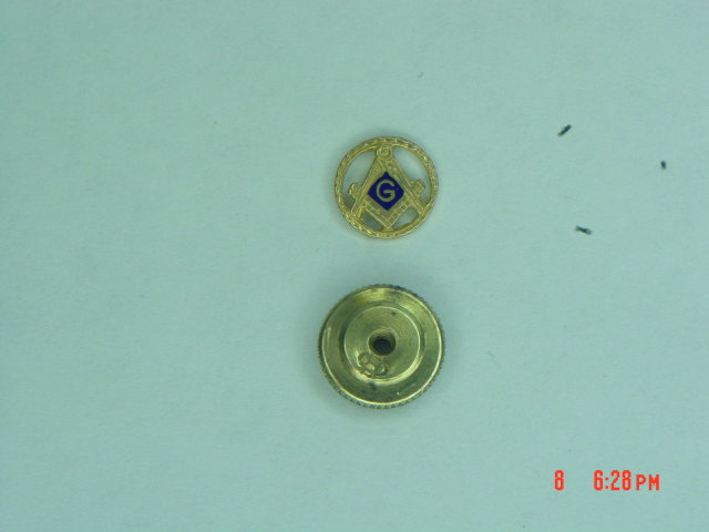 10K Masonic Compass Square Screw Back Lapel Pin