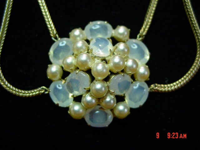 Vintage Opaque Bead & Faux Pearl Necklace