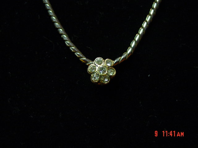 Vintage Rhinestone Flower Choker Necklace