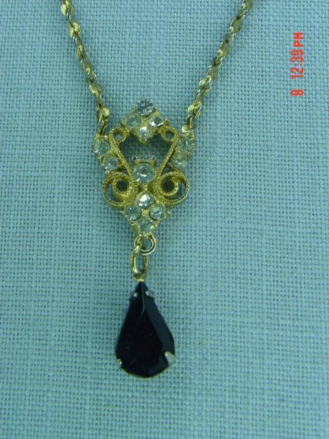 Vintage Gold Serpentine Chain Rhinestone Necklace