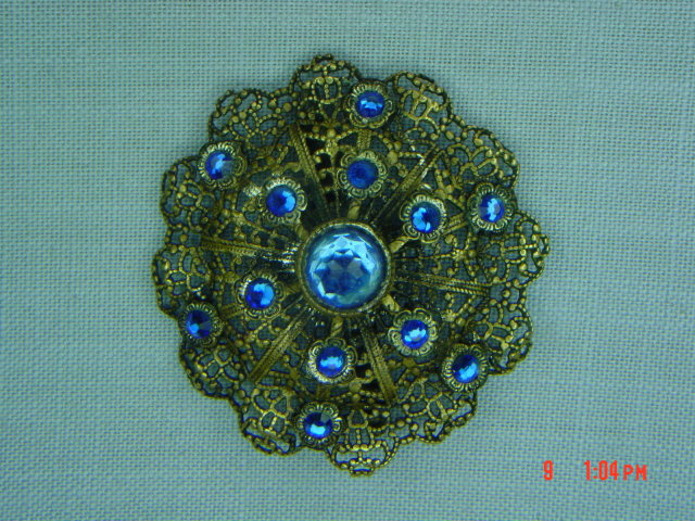 Antique Brass Filigree Blue Rhinestone Brooch