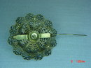Antique Brass Filigree Blue Rhinestone Brooch