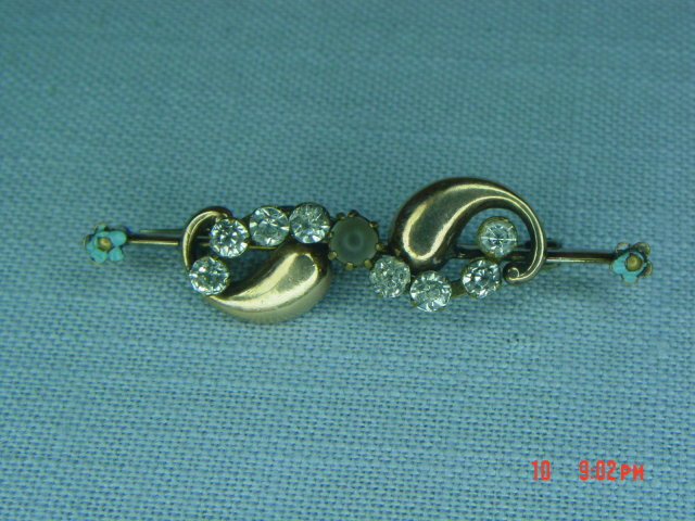 Antique Victorian Gold Filled Rhinestone Moonstone Bar Pin