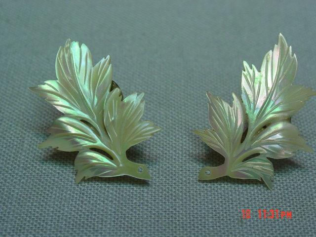 Sterling Mother of Pearl Leaf Screwback Earrings