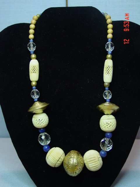 Vintage Ethnic Brass Lapis Crystal Carved Bone Bead Necklace