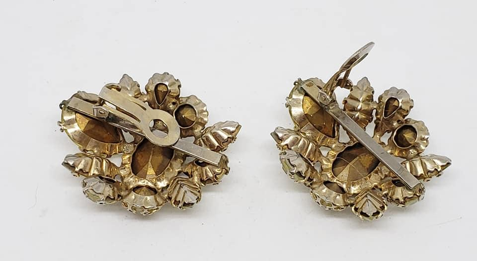 Unsigned Schreiner Pale Yellow Clip Earrings
