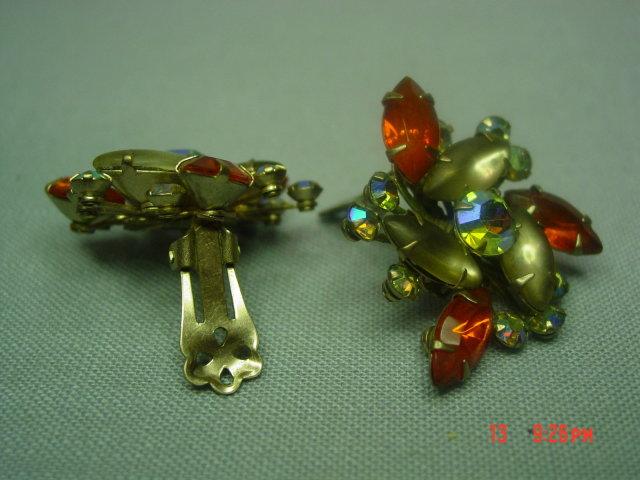 Orange, Opaque and AB Rhinestone Clip Earrings