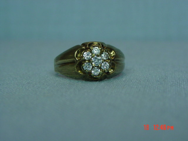 Vintage 417 10K CZ Flower Ring Size 9