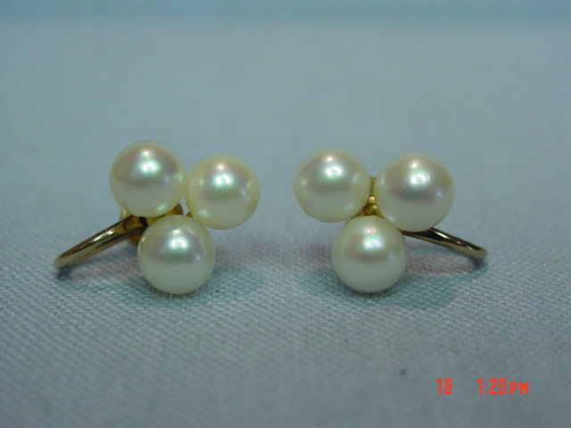 14K Cultured Pearls Screwback Earrings