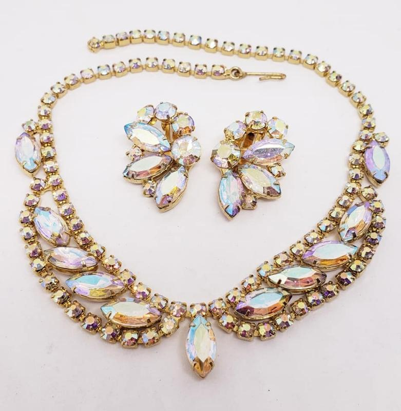Taylor Maid AB Rhinestone Necklace & Clip Earrings