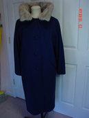 Vintage Fashionbilt Ladies Navy Blue Wool Coat with Silver Mink Collar