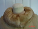 Vintage Size 8 Tan Suede Leather Coat with Mink Collar