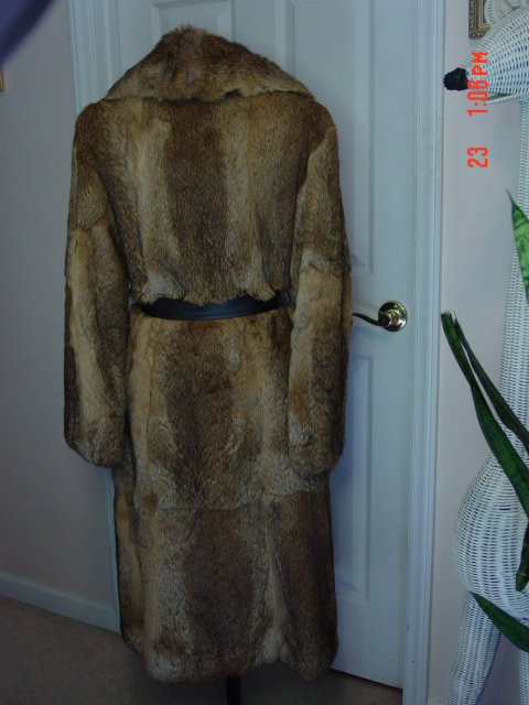 Vintage Long Brown Mottled Rabbit Fur Coat Size 8