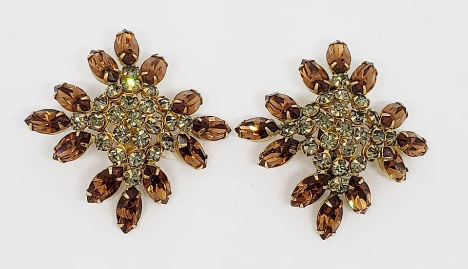 1960's Sandor Topaz Rhinestone Clip Earrings