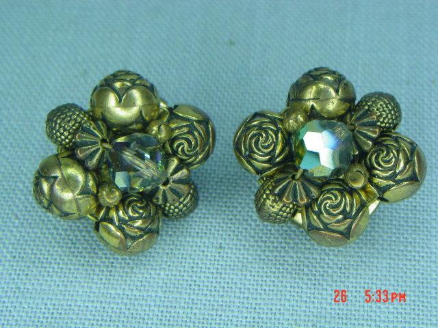 Brass Flower Bead Clip Earrings