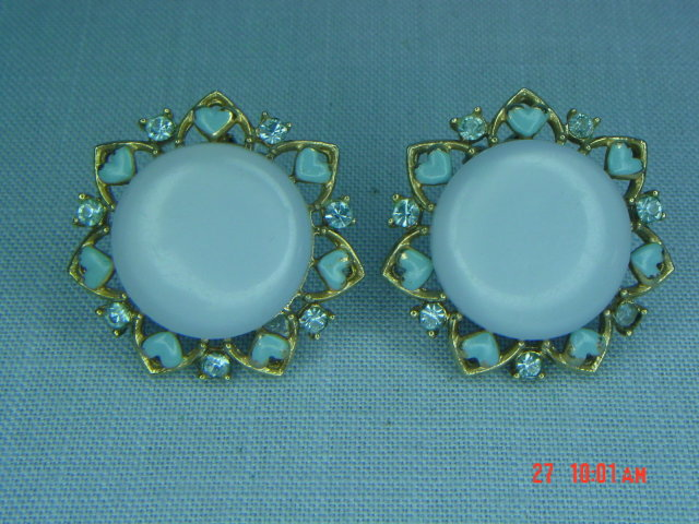 Baby Blue Thermoset & Rhinestone Clip Earrings