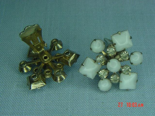 Opaque White & Clear Rhinestone Snowflake Clip Earrings