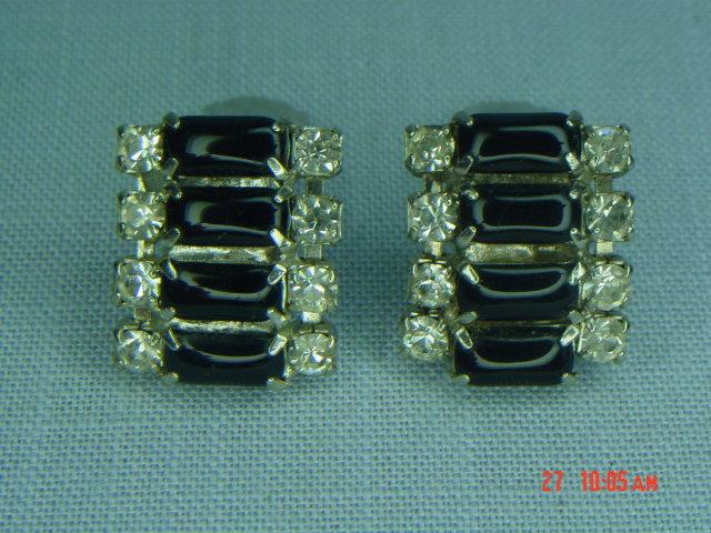 Black Glass & Clear Rhinestone Clip Earrings