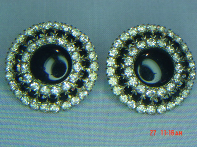 Vintage Black & Clear Rhinestone Clip Earrings