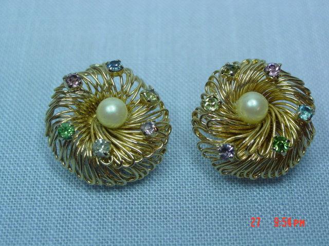 Gold Wire & Rhinestone Clip Earrings