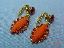Orange Rhinestone Clip Earrings