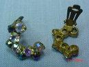 Aurora Borealis Rhinestone Clip Earrings