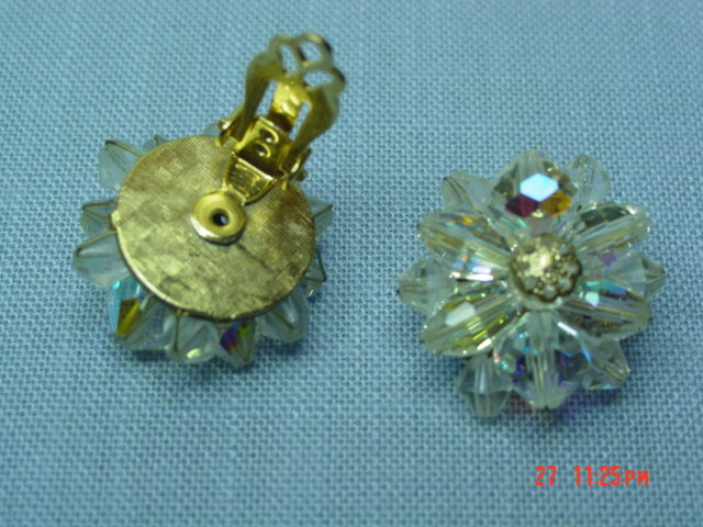 Vintage Crystal Bead Clip Earrings