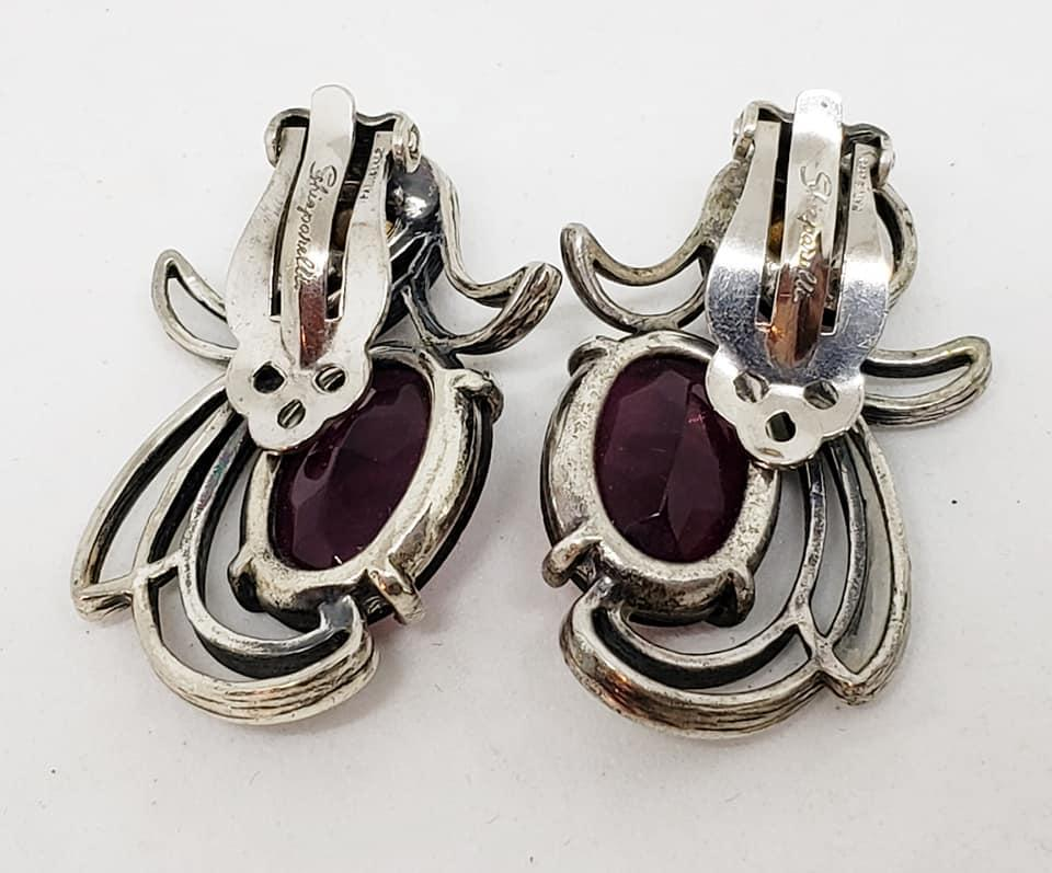 Schiaparelli Plum Glass Clip Earrings