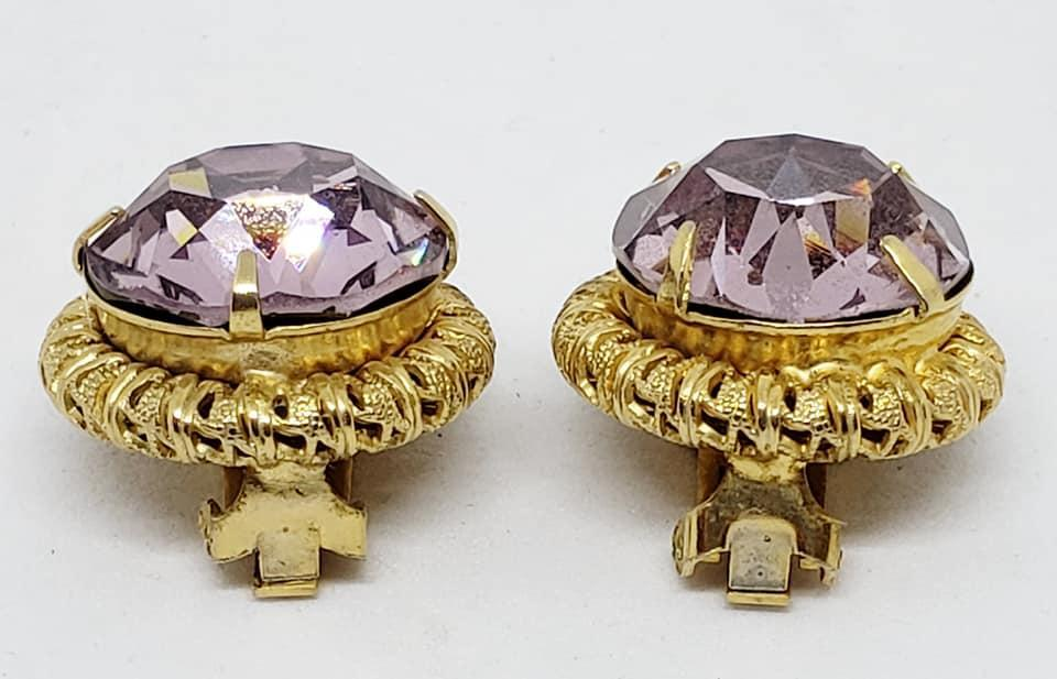 Signed Schreiner Amethyst Glass Clip Earings