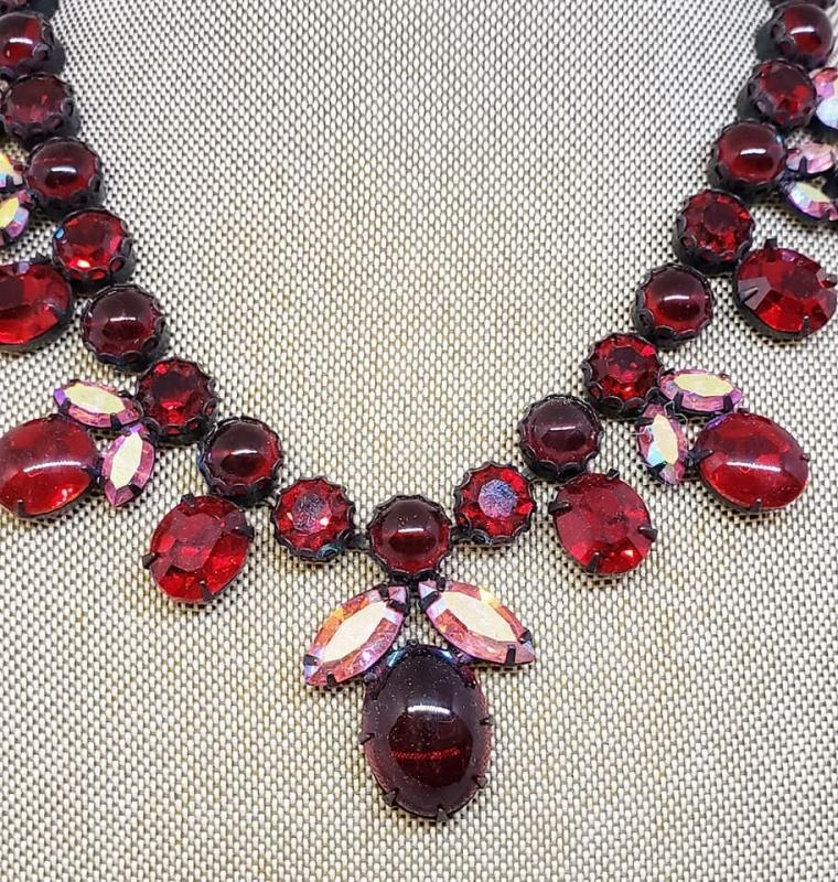 Vintage Red Glass & Rhinestone Choker Necklace