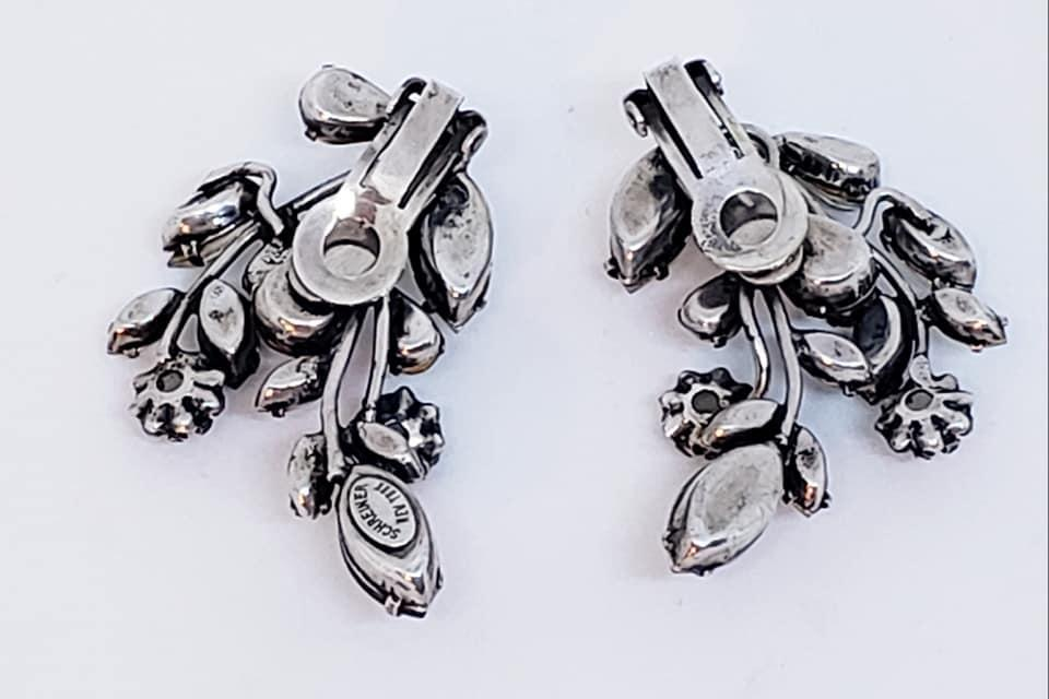Schreiner Smoky Topaz and Clear Rhinestone Clip Earrings