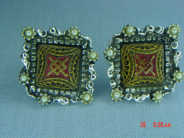 Spanish Style Clip Earrings Signed PA