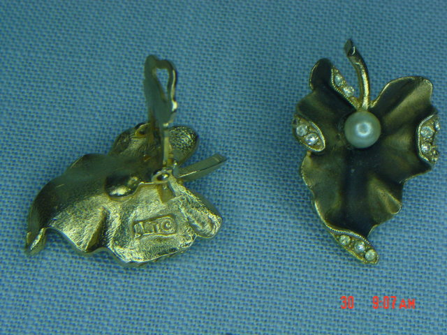 ART Antique Brass Leaf  Clip Earrings With Faux Pearl & Rhinestones Signed ART
