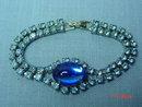 Vintage Blue Rhinestone Bracelet & Clip Earrings