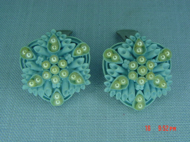 Vintage Baby Blue Carved Celluloid Clip Earrings