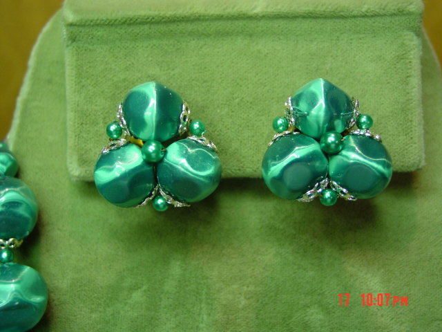 Vintage Japan Green Bead Two Strand Necklace & Clip Earrings