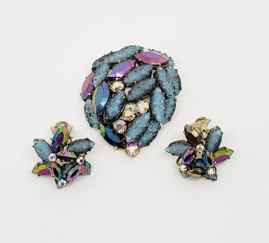 West Germany Blue Glass & AB Rhinestone Brooch & Clip Earrings