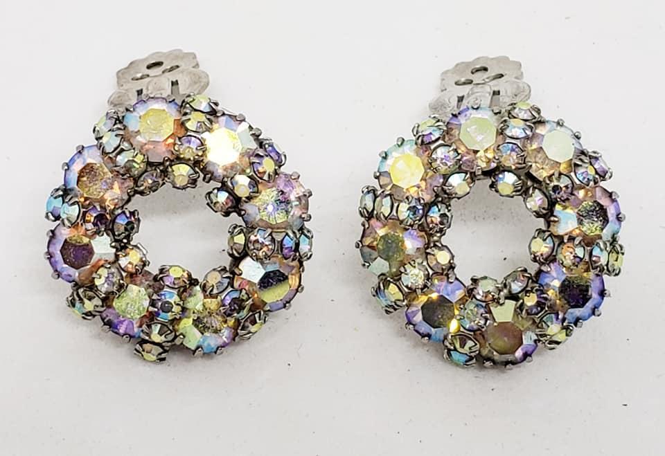 WEISS AB Rhinestone Wreath Brooch & Clip Earrings
