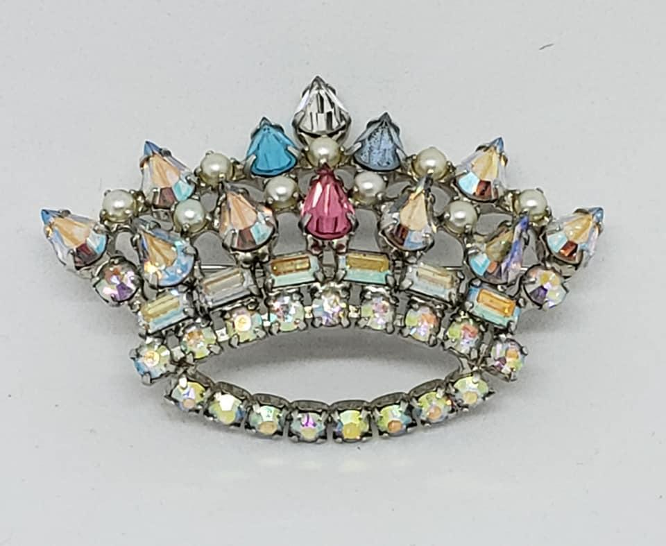 Vintage Rhinestone Mother's Crown Pin Signed B. David