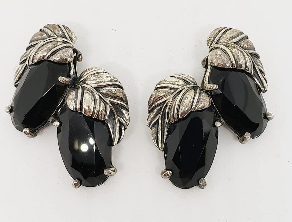 Schiaparelli Silver Leaf & Jet Glass Brooch & Clip Earrings