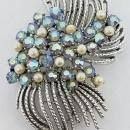 Rhodium Plated Coro Brooch & Matching Clip Earrings Blue AB Rhinestones Faux Pearls