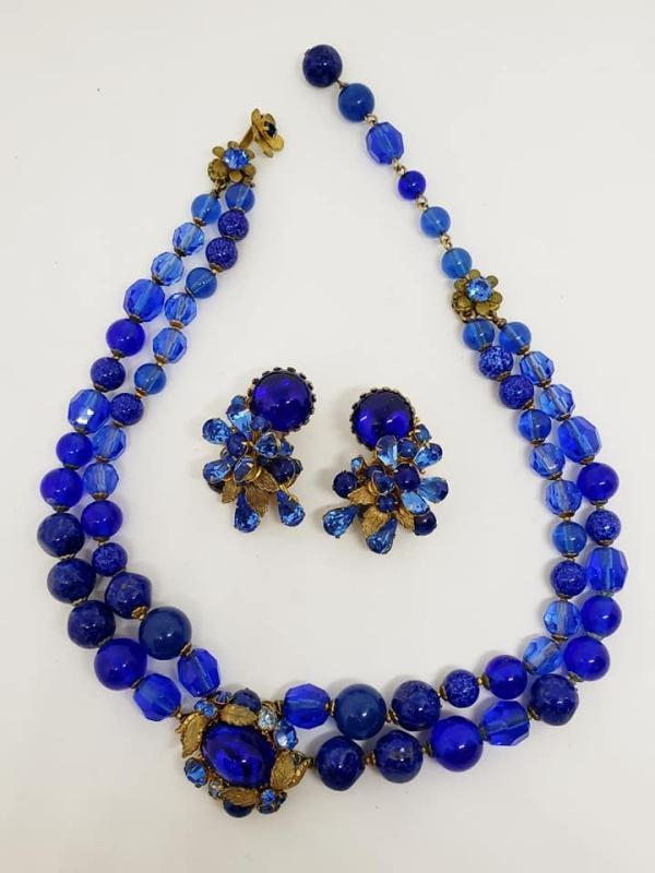 DeMario Royal Blue Glass Choker Necklace & Clip Earrings