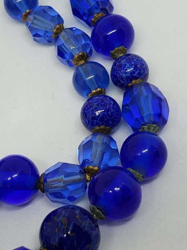 DeMario Royal Blue Glass Choker Necklace & Clip Earrings