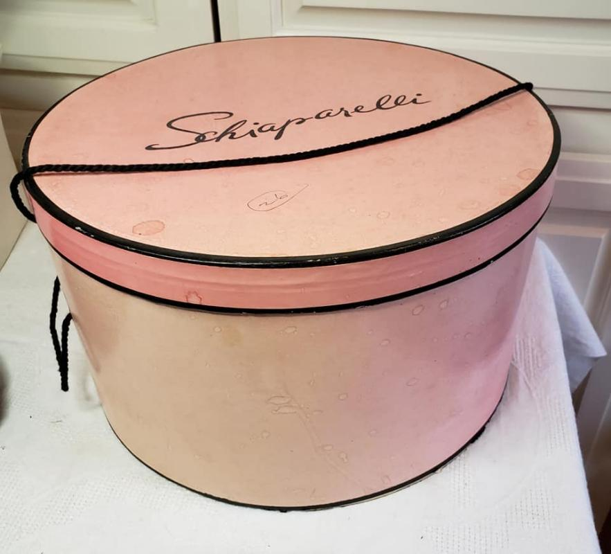 Vintage Schiaparelli Synthetic Black Straw Hat and Round Pink Schiaparelli Hat Box