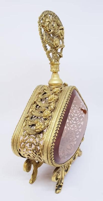 Large Stylebuilt Gold Ormolu Perfume Scent Bottle