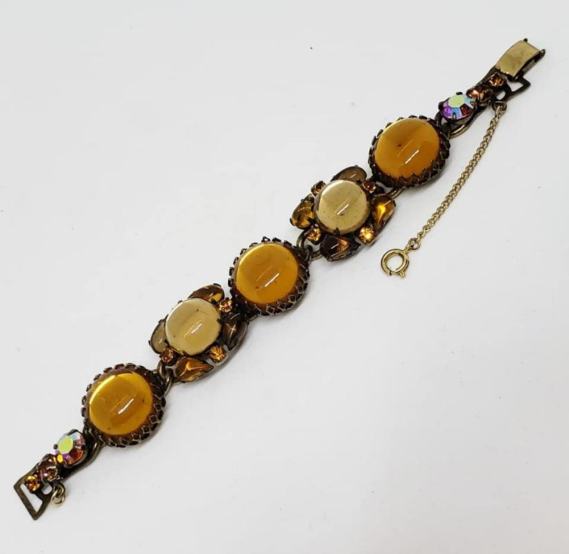 Early Weiss Citrine & Topaz Colored Cabochon Bracelet
