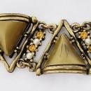 Art Nouveau Antique Brass Chunky Lucite Thermoset Rhinestone Bracelet