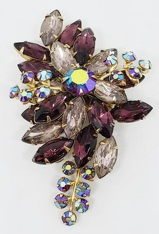 Vintage Purple Rhinestone Flower Swedge Brooch