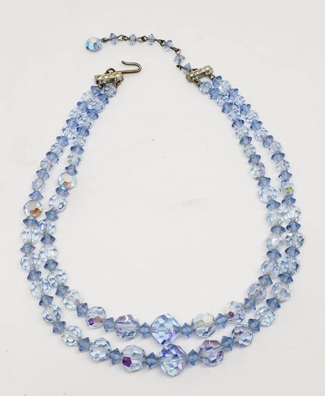 Two-Strand Baby Blue Crystal Bead Necklace