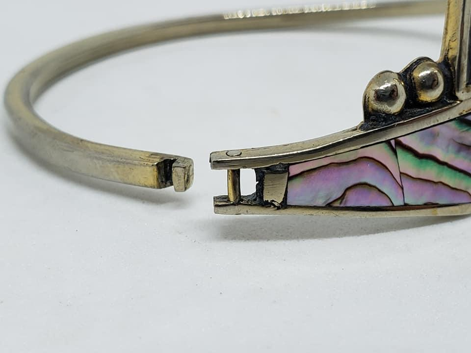 Alpaca Mexico Silver Inlay Hinge Cuff Bracelet